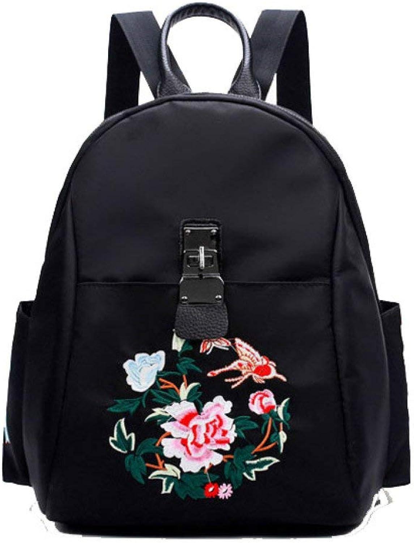 Hulday Handtasche Frauen Stickerei Rucksack Oxford Tuch Grer Rucksack Mode Persnlichkeit Einfacher Stil Rucksack Taschen Damen Mnner Handgepaeck, (Farbe   Schwarz, Größe   27  12  33cm)