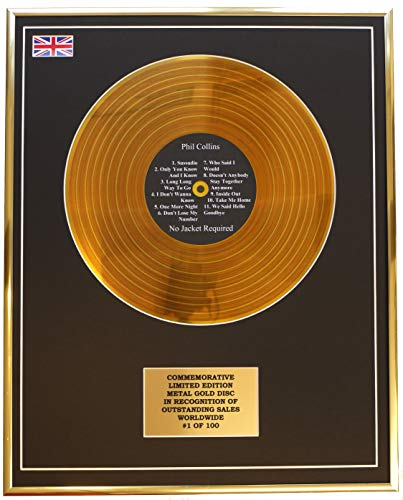 Everythingcollectible Phil Collins - NO Jacket Required/Metall Gold Disc Display Gedenk Limited Edition