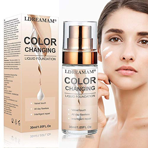 Color Changing Foundation, Flüssige Grundierung, Make-up Basis, Concealer Cover Make Up Flüssig für Gesicht und Hals, Makellose Farbwechselgrundierung
