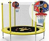 Mopoq Kinder Mini-Trampolin, Garten Trampolin mit Sicherheitsnetz - PE Schutznetz + Basketballkorb,...