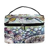 Pintar erizos pájaros mariposas patrón viaje bolsa de maquillaje grande bolsa cosmética bolsa de maquillaje organizador con cremallera bolsas de aseo para mujeres y niñas