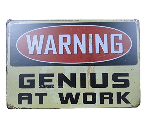 iTemer. pubblicità Bar Serie, 1x 'Warning, Genius At Work' Targa Metallo Vintage Come Decorazione Placca in Lamiera per Il Porta, Muro di Camera da Letto per Uomo 20x30cm