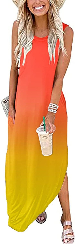 Womens Summer Maxi Split Dress Short Sleeve/Sleeveless Casual Loose Pockets Long Dresses Gradient Color Beach Sundress