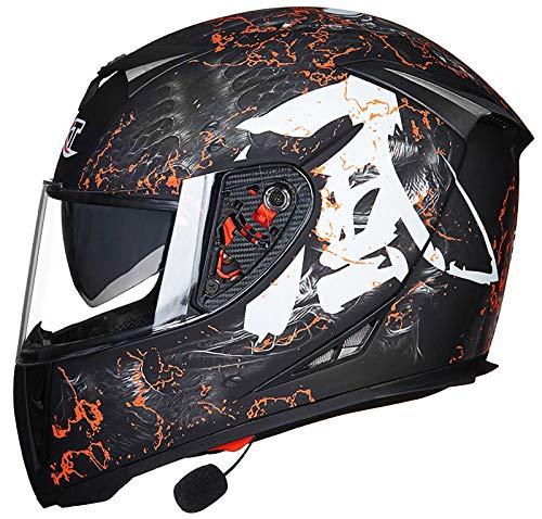 Casco de Motocicleta Integrado Bluetooth,Cascos modulares de Moto de Visera Doble con Visera Completa para Hombres y Mujeres Adultos Certificación ECE F,XL