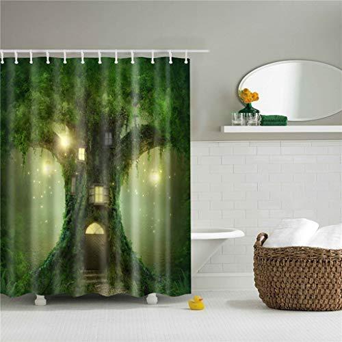 N/X DuschvorhangNatürlicher Baum Herz Duschvorhänge Drucken Wasserdichtes Badezimmer Mit 12 Haken Home Dekorativer Polyester Badvorhang