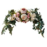 H&S BRIDAL Wedding Arch Flowers, 30 Inch Rustic Artificial Floral Swag for Door Lintel, Green Leaves Rose Peony Sunflowers Table Centerpieces Home Decoration
