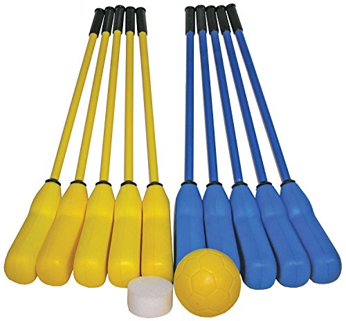 Great Lakes Sports Softee Hockey Set Includes 10 Sticks (5 Blue and 5 Yellow), Plus a Foam Ball and a Foam Puck