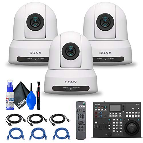 3 x Sony SRG-X400 1080p PTZ Camera with HDMI, IP & 3G-SDI Output (SRG-X400/W) + Sony RM-IP500/1 Professional Remote Controller + 3 x Ethernet Cable + Cleaning Kit + 3 x HDMI Cable - Bundle