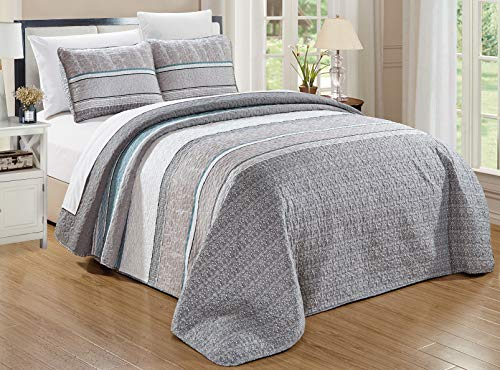 GrandLinen 3-Piece Fine Printed Oversize (118' X 95') Quilt Set Reversible Bedspread Coverlet (California) Cal King Size Bed Cover (Grey, Teal Blue, White, Stripe)