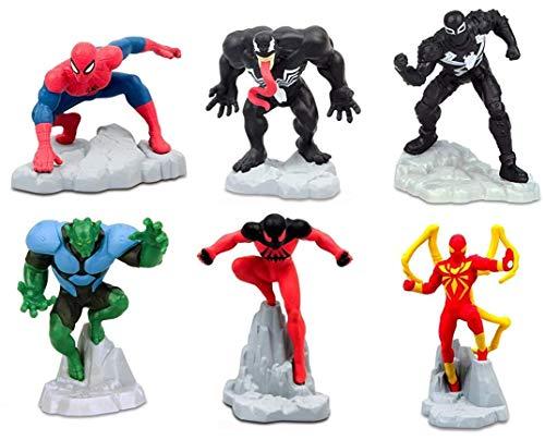 Gashapon - Juego completo de 6 minifiguras de Spiderman Ultimate Hombre araña decoración tarta tarta tarta tarta pastel Topper – Multicolor – 5 cm