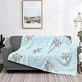 Manta de microfibra ultrasuave para decoración del hogar, manta de franela cálida antipilling para sofá, cama, campamento de 60 x 50 pulgadas, peces extraños, luz de pez ángel