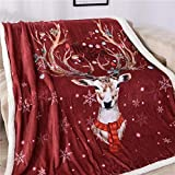 Luckyx Weihnachtsdecke Flanell Filmaufpassen Fleecedecke Reindeer Weihnachtsschneeflocke Printed Weihnachtswurfdecke Soft-Cozy Fleece Und Warme Schlafsofa Decke, Super Weiche Flanell Fleecedecke