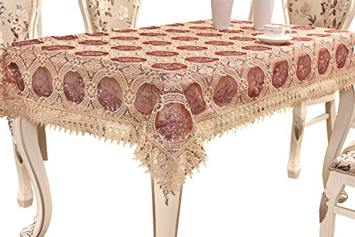 Adasmile Vintage Burgundy Lace Tablecloth Embroidered Rectangle Table Cover Red Flowers Party Wedding 60