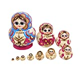 Healifty hölzerne russische Verschachtelungspuppen Verschachtelungspuppe des kleinen Mädchens 10 Schichten die Puppenspielzeughandwerksgeschenkausgangsdekoration 10pcs stapeln -