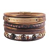 GelConnie Inspirational Leather Cuff Bracelets for Women Multi Strands Boho Bracelets Gold Plated Magnetic Bohemian Wrap Bracelet Jewelry LPB346-Brown