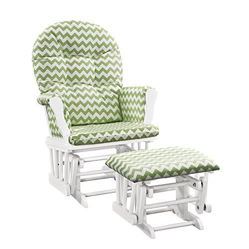 Windsor Glider and ottoman-white w/ green chevron cushion