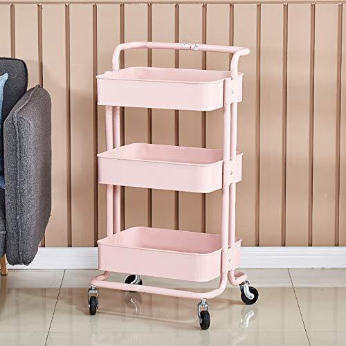 Wagen Küchenregal mit Rad mobilen Bodenablage Regal rosa 4 Schichten ohne Griff