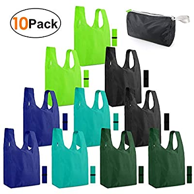 reusable grocery bags 10 pack zipper pocket ...