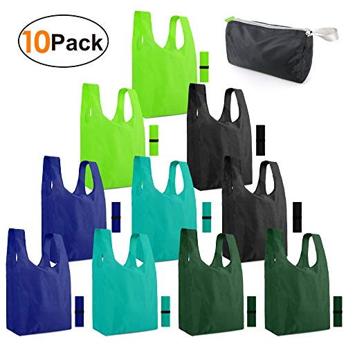 Reusable-Grocery-Bags-Shopping-Foldable-Bags for Groceries 10 Pack Xlarge Bags with Elastic Zipper...