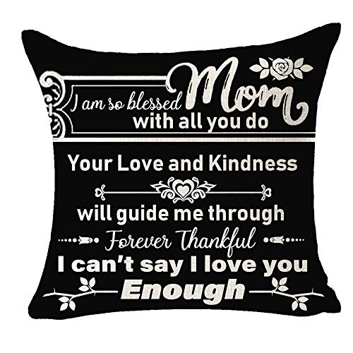 NIDITW Best Mom Gift Mom I Am So Blessed with All You Do Cotton Linen Cushion Case Throw Pillow Cover Home Chair Couch Living Room Decor Square 18 inches (F6)