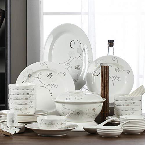 Juego de vajilla de porcelana china de hueso 56 platos simples de cerámica para el hogar, palillos, lenguaje de flores Jingdezhen
