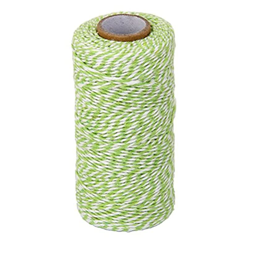 FENICAL Cotton Twine Kitchen String Cooking Twine Bakers Twine 100M (Grass Green White)