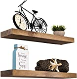 Imperative Décor Floating Shelves Rustic Wood Wall Shelf USA Handmade | Set of 2 (Light Walnut, 24' x 5.5')
