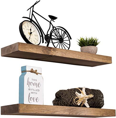 """Floating Shelves Rustic Wood Wall Shelf USA Handmade   Set of 2 (Light Walnut, 24"""" x 5.5"""")"""