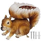Juegoal Squirrel Bird Feeder Outdoor, 3.5 oz Capacity Brown Resin Chipmunk Garden Statues, Sculpture Wild Seed Birdfeeder for Outside Woodland Squirrels and Other Animals, Whimsical Garden Decorations