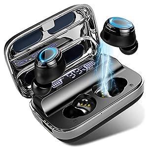 140H spielzeit und portable powerbank: 1.5 stunde laden, 6 stunden musikgenuss, der wireless kopfhörer kann etwa 23 mal vollständig aufgeladen werden. sie erhalten 140 stunden musik wiedergabezei. Sie können den ladebox auch als powerbank 2600mAh ver...