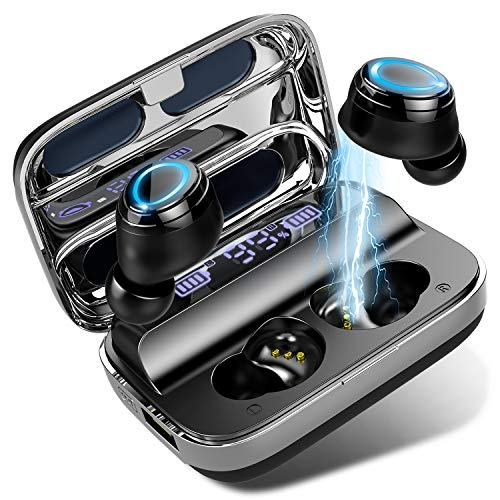 Donerton Wireless Earbuds, Bluetooth 5.0 Headphones 140 Hours Playtime Earphones with Charging Case, in Ear Headset IP7 Waterproof Earbuds Noise Cancelling Microphone, LCD Display, for Sports/Working