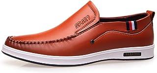 Mocasines Planos Respirables de Verano de los Hombres Resbalón en el Zapato de Cuero
