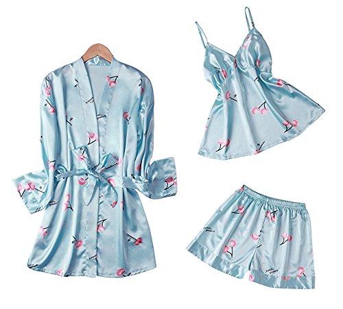 Dragon Troops Traje de Tres Piezas para Mujer de Verano Pijama, Kimono de Estilo japonés, T4
