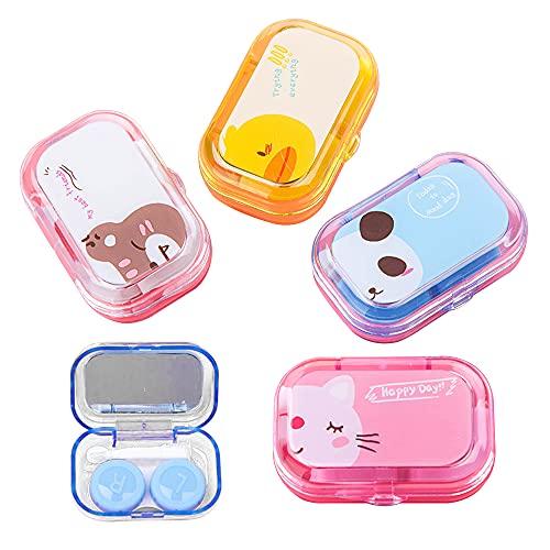 CYJZHEU 4PCS Kontaktlinsenbehälter, Schutzhülle zu Kontaktlinsen und integriertem Spiegel, Kontaktlinsen, Brillenetui Tragbar, Reise Kontaktlinsen Set für Zuhause und Reisen