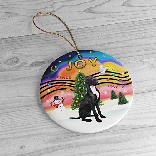 Custome Tree Oranment Xmas Tree Ornament Qurantine 2020 Black Great Dane In Christmas Music Joy Heirloom Ceramic Ornament, Christmas Ornament