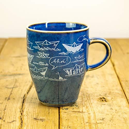 Kaffeebecher Papierschiffe Motive - Maritime Porzellan-Tasse von Ahoi Marie in blau