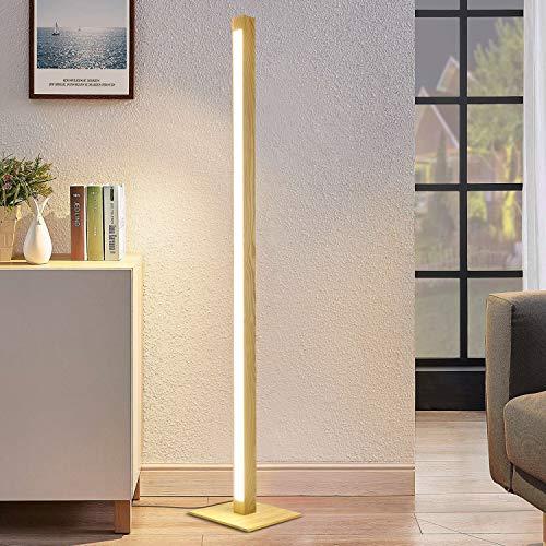 LED Dimmbar Stehlampe aus Holz 148CM ZMH Standleuchte Wohnzimmer 12W Stehleuchte Schlafzimmer 960 Lumen, Warmweiß/Neutralweiß/Kaltweiß Bodenleuchte mit 300CM Kabel für Schlafzimmer Wohnzimmer Büro
