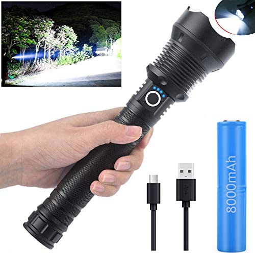 Flashlights High Lumens, Super Bright Rechargeable Flashlight 90000 Lumens Zoomable Waterproof with Batteries, Powerful Handheld Flashlight for Camping Emergencies