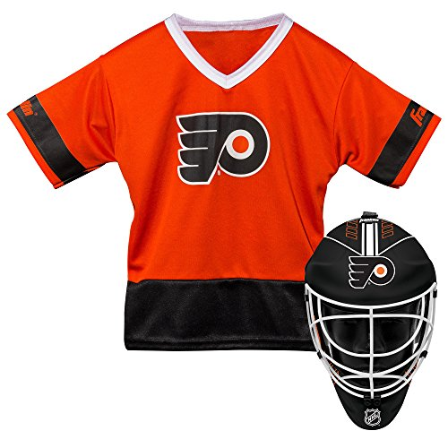 Franklin Sports Philadelphia Flyers Kid's Hockey Costume Set - Youth Jersey & Goalie Mask - Halloween Fan Outfit - NHL Official Licensed Product