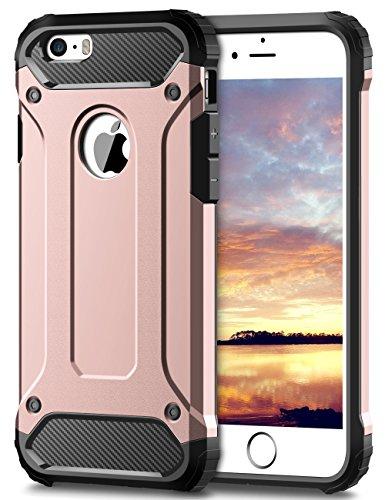 Coolden iPhone 6S Hülle, Premium [Armor Serie] iPhone 6 Outdoor Stoßfest Handyhülle Silikon TPU + PC Bumper Cover Doppelschichter Schutz Hülle für iPhone 6/6S (Rosegold)