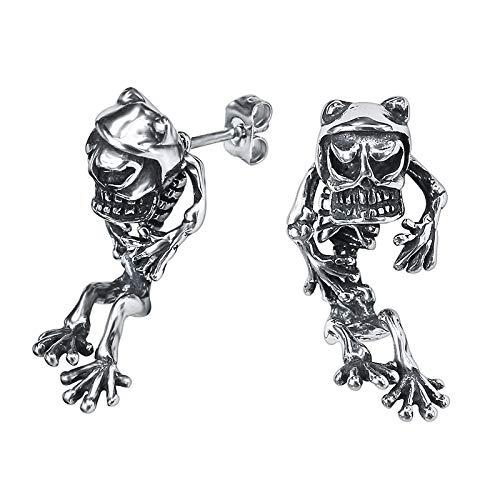 Pendientes Rock Roll con forma de calavera y rana para hombre, joyería de acero inoxidable, pendiente de esqueleto, pendientes góticos de motociclista, 1 par