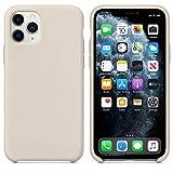 Funda de Silicona Silicone Case para iPhone 11 Pro MAX, Tacto Sedoso Suave, Carcasa Anti Golpes Duradera y Resistente, Bumper, Forro de Microfibra (Gris Piedra)
