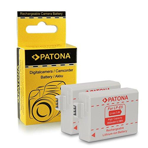 PATONA 2X Bateria LP-E5 Compatible con Canon EOS 1000D, 500D, 450D, Rebel XS, XSi, T1i, Kiss X3, X2, F
