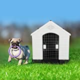 "LONABR Plastic Outdoor Dog House with Door for Pet Weatherproof Kennel Small to Large Size,Blue & White (S-26.5' L x 25' W x 28""H)"