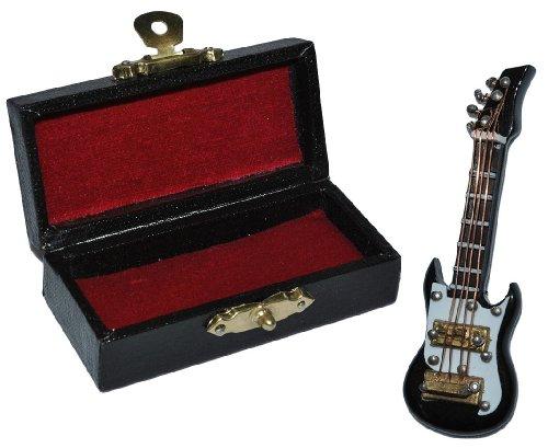 alles-meine.de GmbH Miniatur E-Gitarre / Bassgitarre mit Kasten - Holz Maßstab 1:12 - schwarz weiß elektrische Gitarre Puppenhaus - Musikinstrument Musik Instrument Gitarrenkaste..