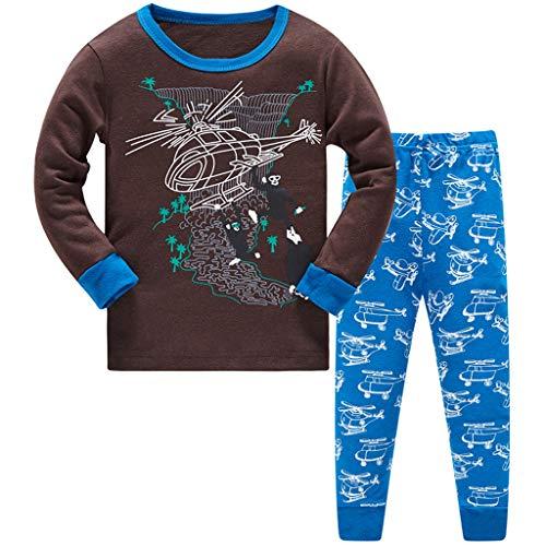HIKIDS Jungen Schlafanzug Hubschrauber Baumwolle Pyjamas Kinder Zweiteiliger Nachtwäsche Langarm Shirt und Pyjamahose 3-4 Jahre