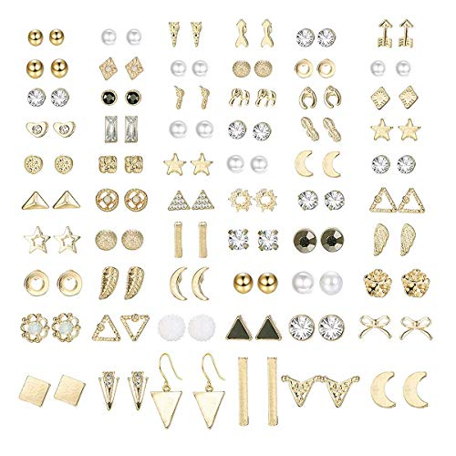 Finrezio 60 Pairs Stud Earrings for Women Men Triangle Square Circle Bar Star Moon Geometric Leaf Arrow Bow CZ Ball Faux Pearl Earrings Set Gold