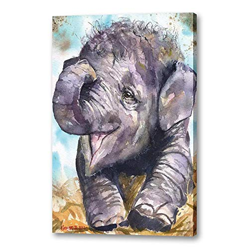 Bndsey Feliz Elefante bebé Rinoceronte Imagen decoración del hogar Lienzo nórdico Pintura Pared Arte Carteles e impresión 60x90cm