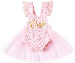 Baby Girl One 1st Birthday Outfits Princess Lace Ruffle Short Sleeve Romper Tulle Tutu Dress Jumpsuit Bodysuit Party Dress