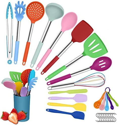 Herda Colorful kitchen Cooking Utensil Set Herda Multi color 29PCS Non Scratch Silicone Kitchen product image